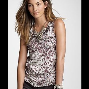J Crew 100% Silk Animal Print Blouse